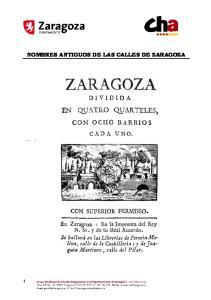 NOMBRES ANTIGUOS DE LAS CALLES DE ZARAGOZA