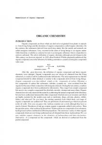 Nomenclature of Organic Compounds ORGANIC CHEMISTRY