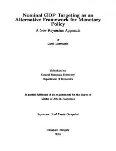 Nominal GDP Targeting as an Alternative Framework for Monetary Policy