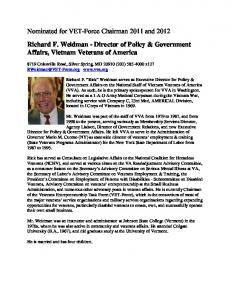 Nominated for VET-Force Chairman 2011 and Richard F. Weidman - Director of Policy & Government Affairs, Vietnam Veterans of America