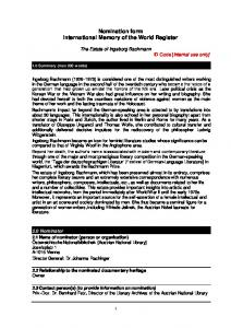 Nomination form International Memory of the World Register