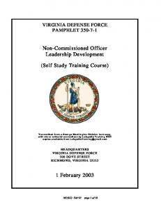 Non-Commissioned Officer Leadership Development. (Self Study Training Course)