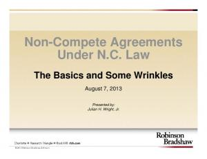 Non-Compete Agreements Under N.C. Law