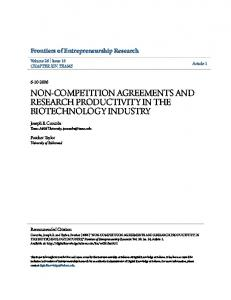 NON-COMPETITION AGREEMENTS AND RESEARCH PRODUCTIVITY IN THE BIOTECHNOLOGY INDUSTRY