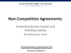 Non-Competition Agreements: