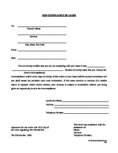 NON-COMPLIANCE OF LEASE