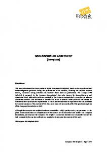 NON-DISCLOSURE AGREEMENT (Template)