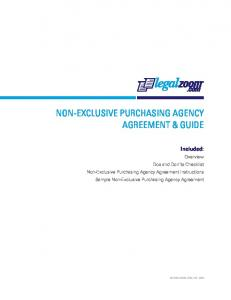 NON-EXCLUSIVE PURCHASING AGENCY AGREEMENT & GUIDE