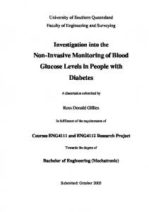 Non-Invasive Monitoring of Blood Glucose Levels in People with Diabetes