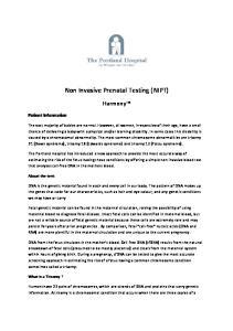 Non Invasive Prenatal Testing (NIPT)