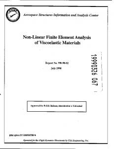 Non-Linear Finite Element Analysis of Viscoelastic Materials