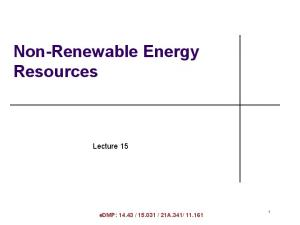 Non-Renewable Energy Resources
