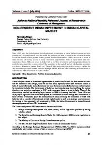 NON-RESIDENT INDIAN INVESTMENT IN INDIAN CAPITAL MARKET