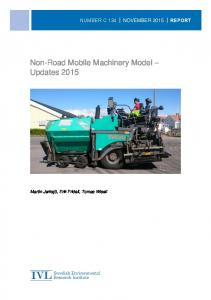 Non-Road Mobile Machinery Model Updates 2015