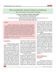 Non-saccharide natural intense sweeteners An overview of current status