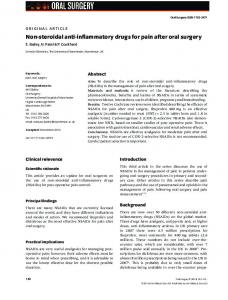 Non-steroidal anti-inflammatory drugs for pain after oral surgery