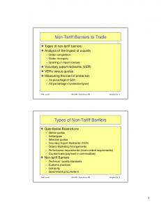 Non-Tariff Barriers to Trade. Types of Non-Tariff Barriers