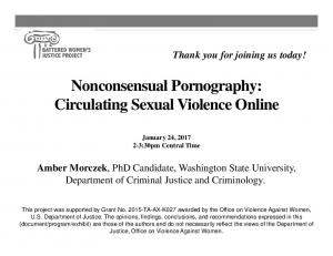Nonconsensual Pornography: Circulating Sexual Violence Online