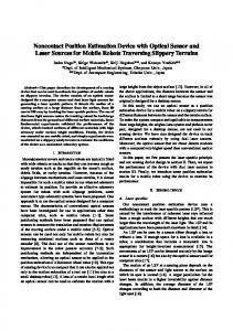 Noncontact Position Estimation Device with Optical Sensor and Laser Sources for Mobile Robots Traversing Slippery Terrains