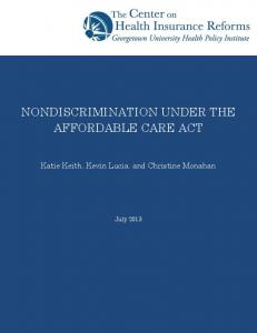 NONDISCRIMINATION UNDER THE AFFORDABLE CARE ACT