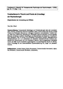 Nondualismus in Theorie und Praxis als Grundlage der Psychotherapie