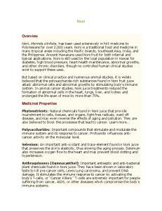 Noni. Overview. Medicinal Properties