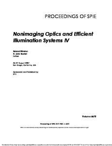 Nonimaging Optics and Efficient Illumination Systems IV