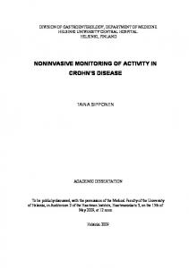NONINVASIVE MONITORING OF ACTIVITY IN CROHN S DISEASE