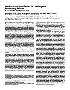 Noninvasive Ventilation in Cardiogenic Pulmonary Edema A Multicenter Randomized Trial
