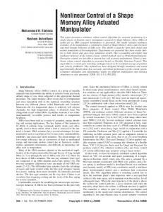 Nonlinear Control of a Shape Memory Alloy Actuated Manipulator