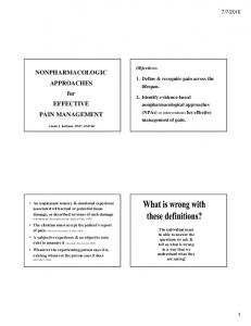 NONPHARMACOLOGIC APPROACHES for EFFECTIVE PAIN MANAGEMENT