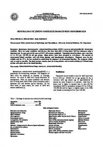 NONTRAUMATIC (SPONTANEOUS) SUBARACHNOID HEMORRHAGE