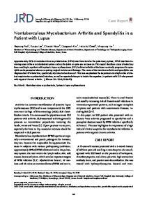 Nontuberculous Mycobacterium Arthritis and Spondylitis in a Patient with Lupus