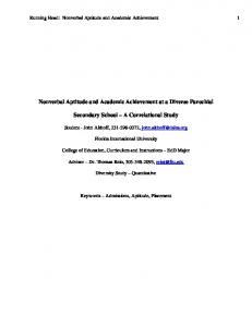 Nonverbal Aptitude and Academic Achievement at a Diverse Parochial. Secondary School A Correlational Study