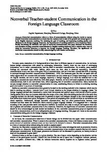 Nonverbal Teacher-student Communication in the Foreign Language Classroom