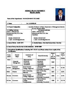 NOORUL ISLAM UNIVERSITY Faculty profile