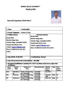 NOORUL ISLAM UNIVERSITY. Faculty profile