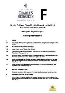 Nordic Folkboat Class Finnish Championship Liuskasaari, Helsinki. Sailing Instructions