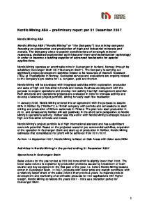 Nordic Mining ASA preliminary report per 31 December 2007