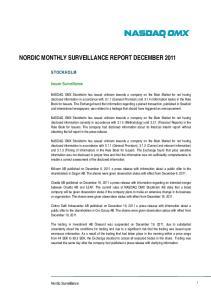 NORDIC MONTHLY SURVEILLANCE REPORT DECEMBER 2011