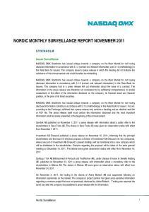 NORDIC MONTHLY SURVEILLANCE REPORT NOVEMBER 2011