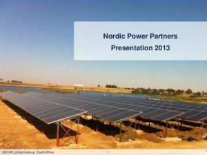 Nordic Power Partners Presentation kw, Johannesburg, South Africa