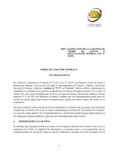 NORMA DE CARACTER GENERAL N. A las empresas mineras