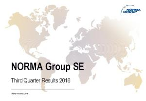 NORMA Group SE. Third Quarter Results 2016