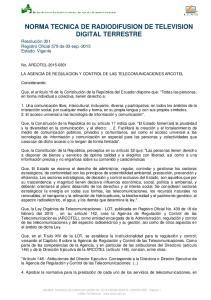 NORMA TECNICA DE RADIODIFUSION DE TELEVISION DIGITAL TERRESTRE
