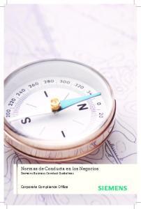 Normas de Conducta en los Negocios Siemens Business Conduct Guidelines