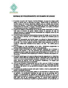 NORMAS DE PROCEDIMIENTO DE EXAMEN DE GRADO
