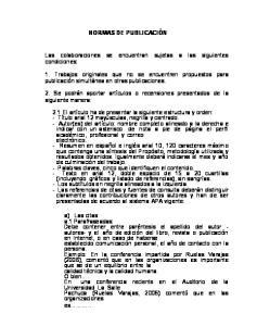 NORMAS DE PUBLICACIÓN. Las colaboraciones se encuentran sujetas a las siguientes condiciones: