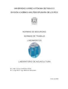 NORMAS DE SEGURIDAD NORMAS DE TRABAJO LINEAMIENTOS LABORATORIO DE ACUACULTURA
