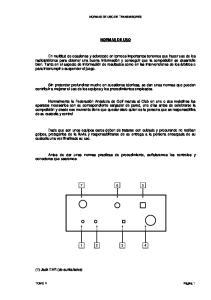 NORMAS DE USO DE TRANSMISORES NORMAS DE USO